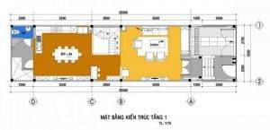 Mặt bằng thiết kế tầng 1 của nhà ống