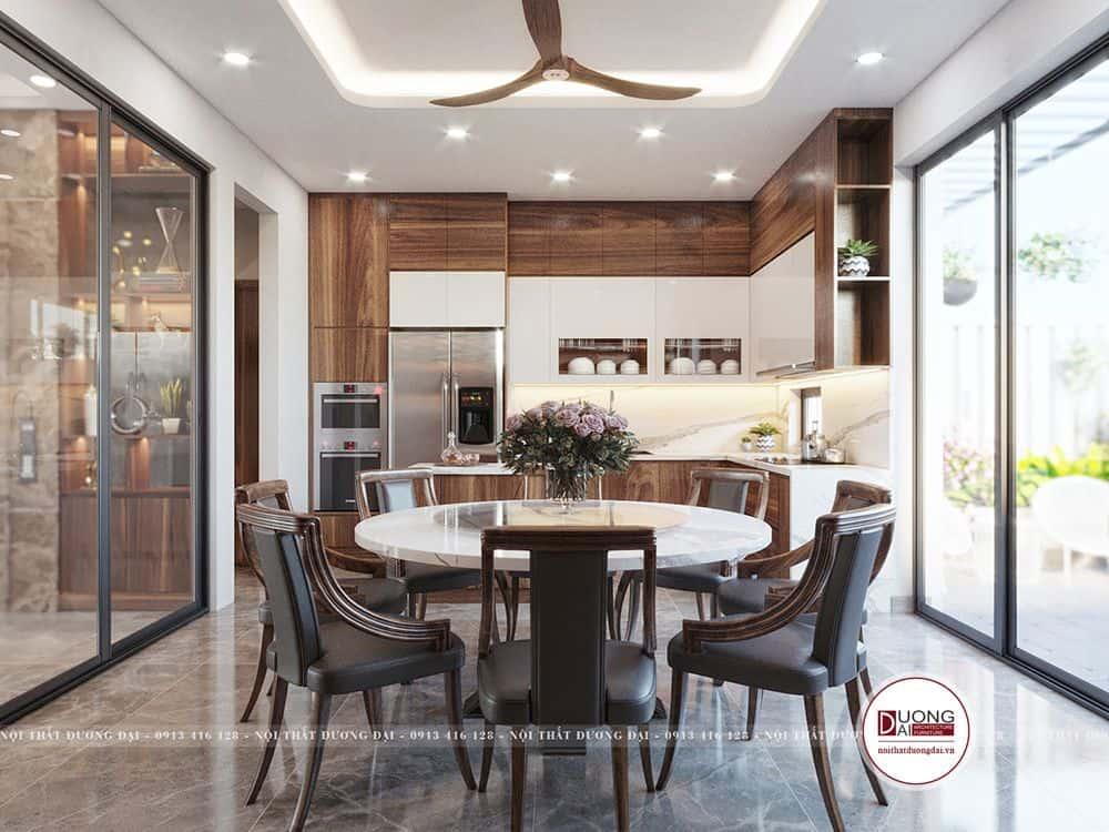 Không gian phòng bếp xa hoa và sang trọng với nội thất gỗ cao cấp