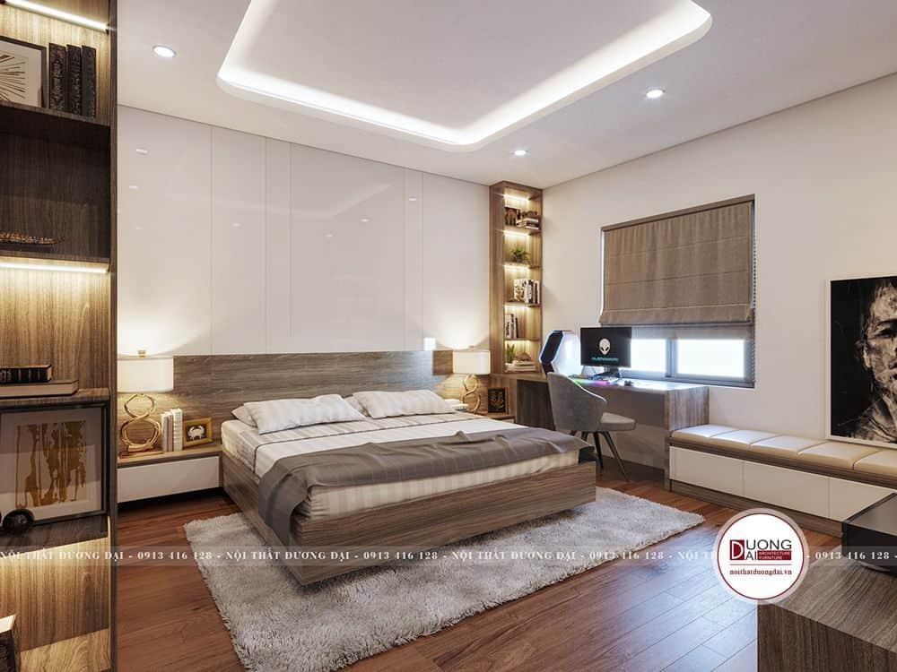 Mẫu phòng Master sử dụng chất liệu gỗ công nghiệp phủ lớp vân gỗ