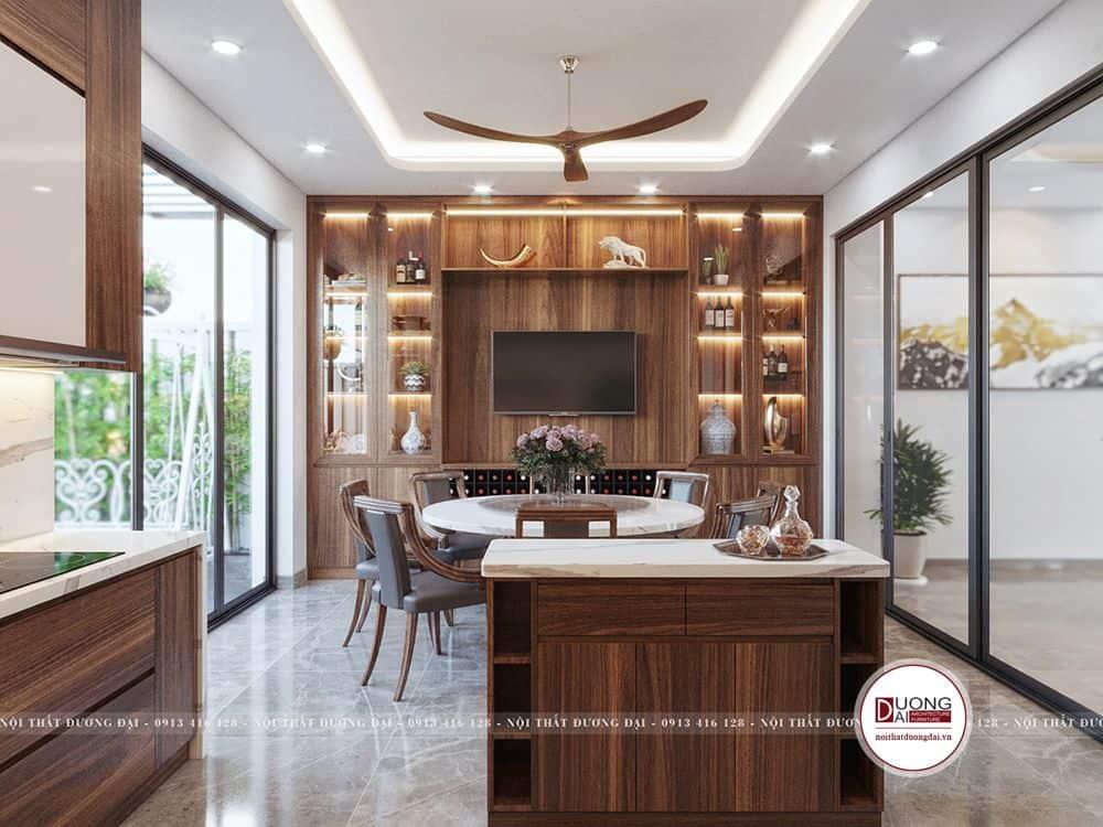 Đảo bếp và tủ rượu hiện đại được làm từ gỗ công nghiệp