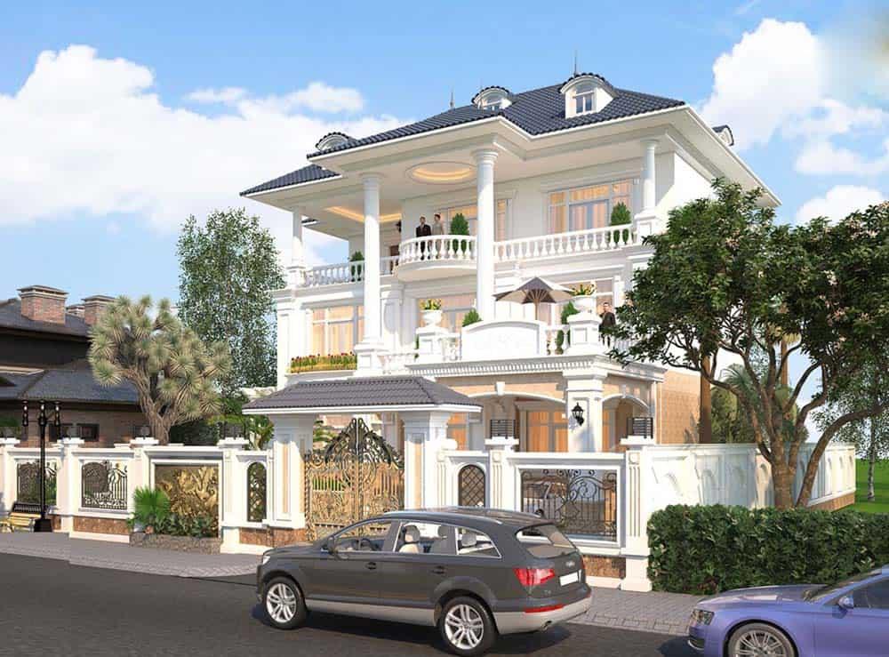 Thiết kế nhà biệt thự mái thái siêu đẳng cấp