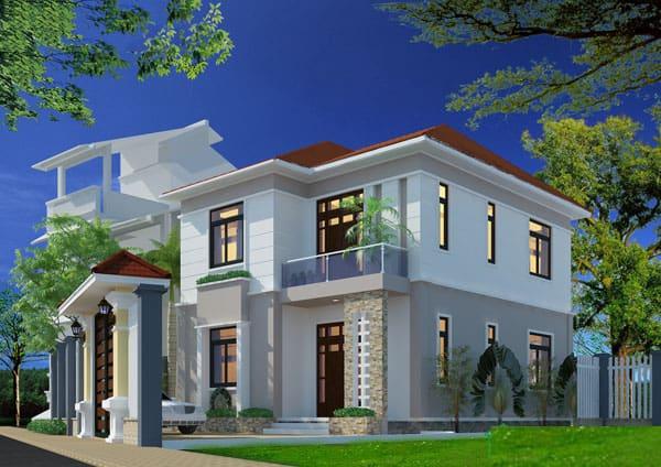Kết cấu mái lệch giật cấp giúp ngôi nhà nổi bật hơn