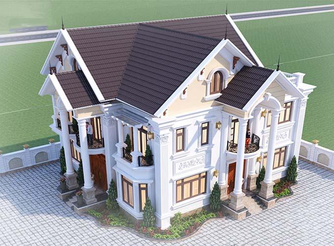 Mẫu biệt thự 3 tầng kiểu pháp này gây ấn tượng bởi khối kiến trúc vuông vắn