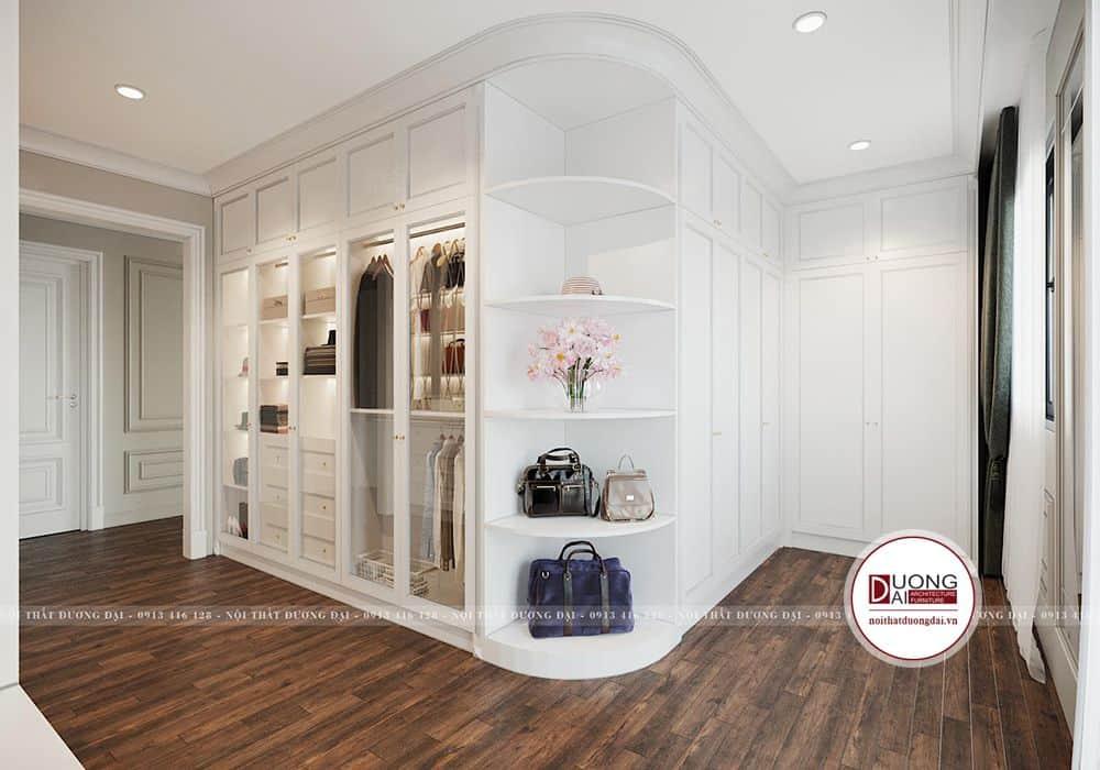 Tủ đồ và kệ trang trí cao cấp bằng gỗ tự nhiên sơn trắng