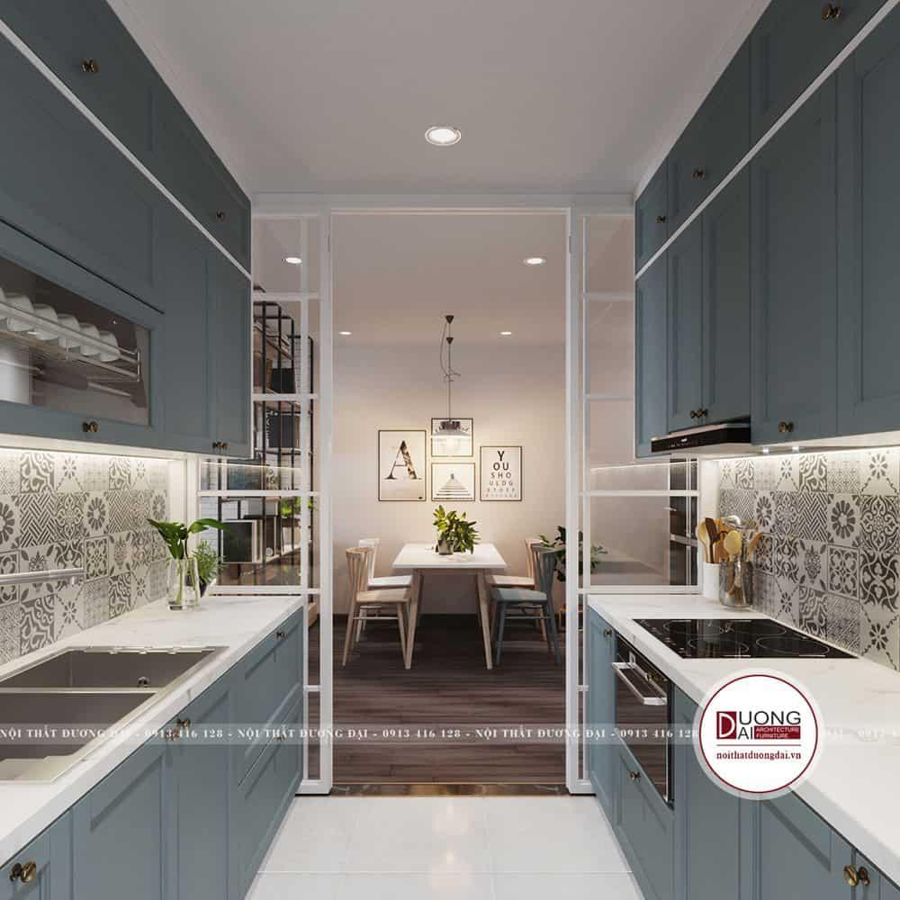 Tủ bếp màu xanh dương đầy tiện nghi và thông minh