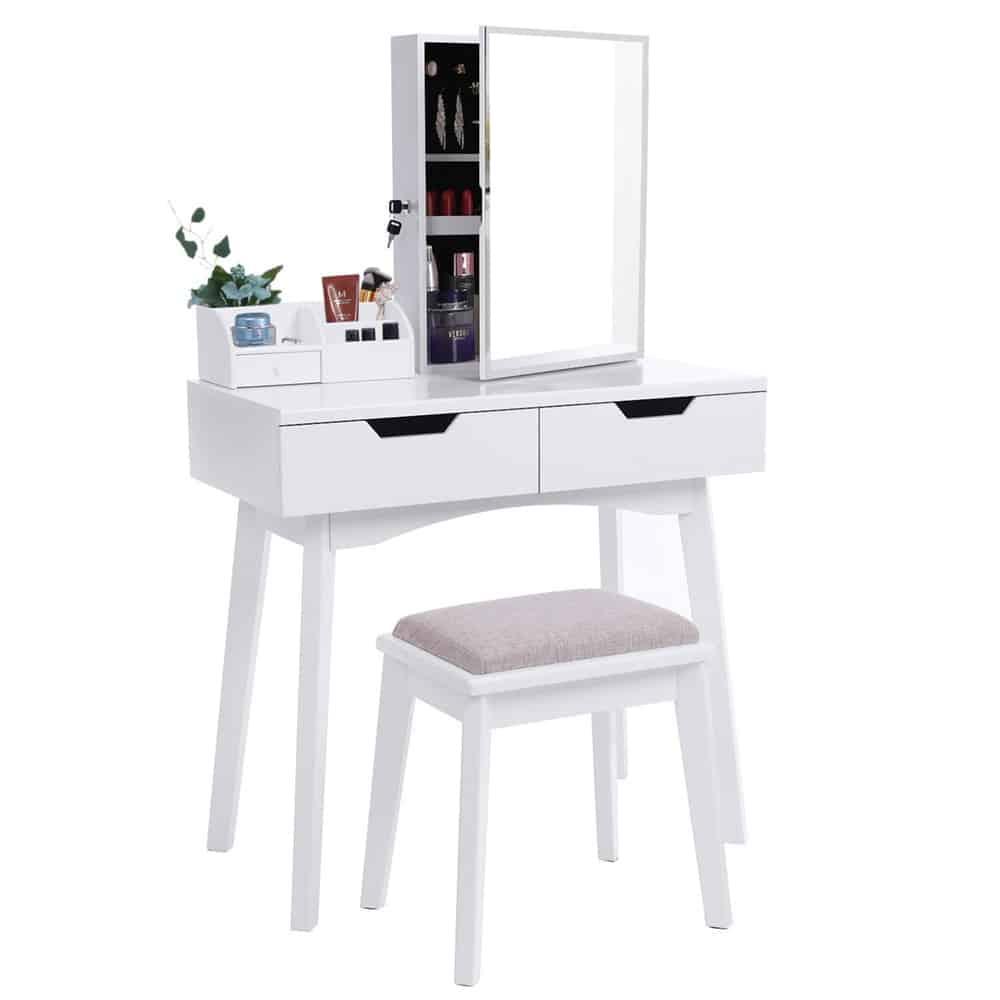 Thiết kế bàn phấn màu trắng hiện đại