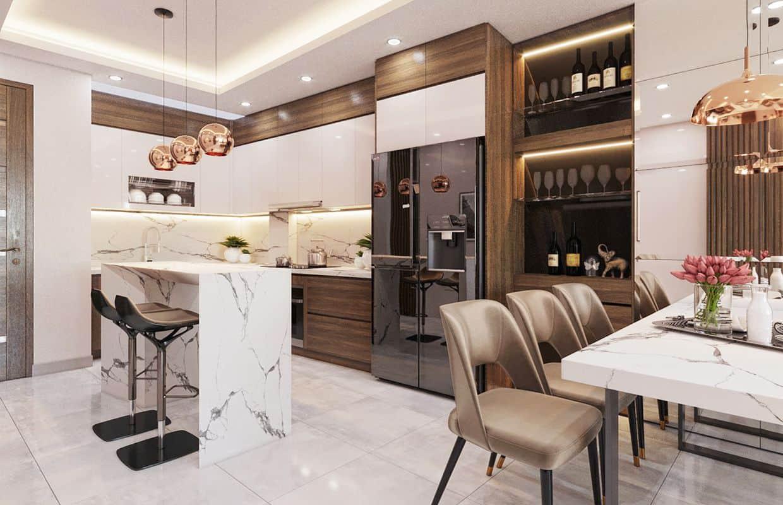 Thiết kế phòng bếp nhỏ 10m2 của nhà phố 3 tầng