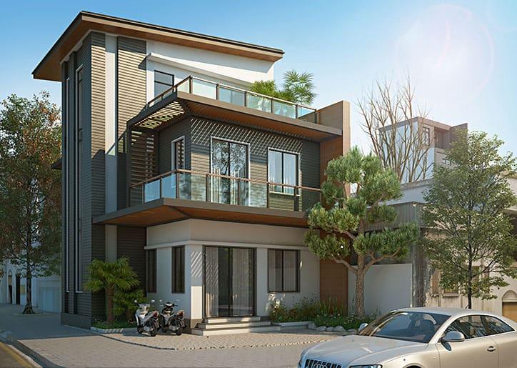 Biệt thự 2 tầng với vật liệu hiện đại và gam màu trầm ấm