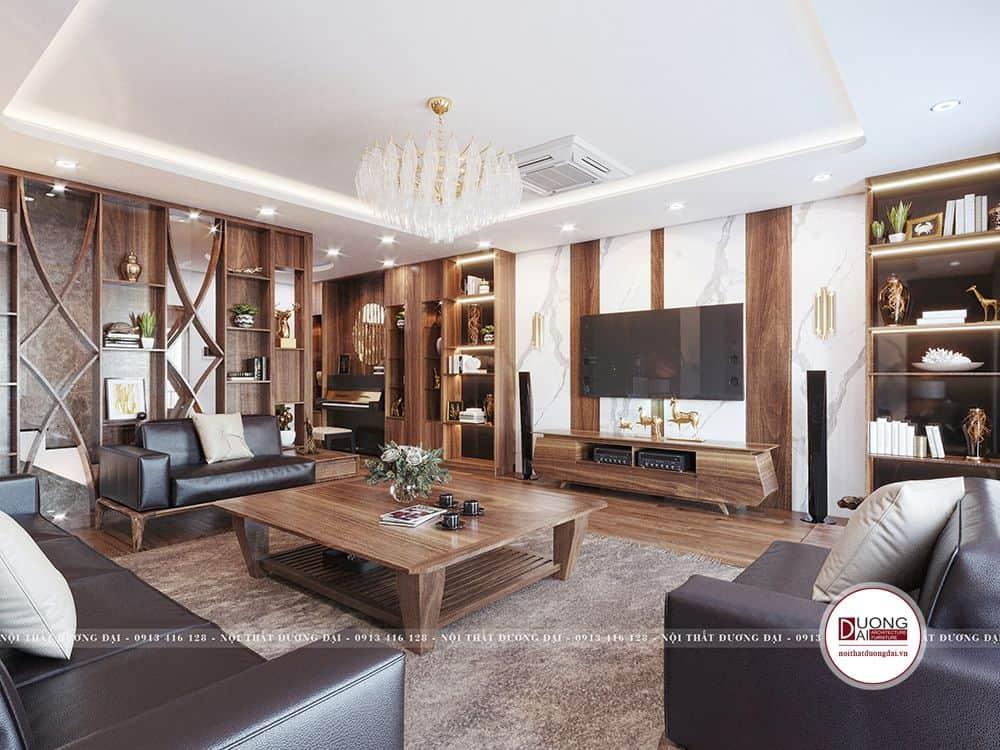 Thiết kế nộ thất phòng khách với sự kết hợp gam màu gỗ và màu sáng