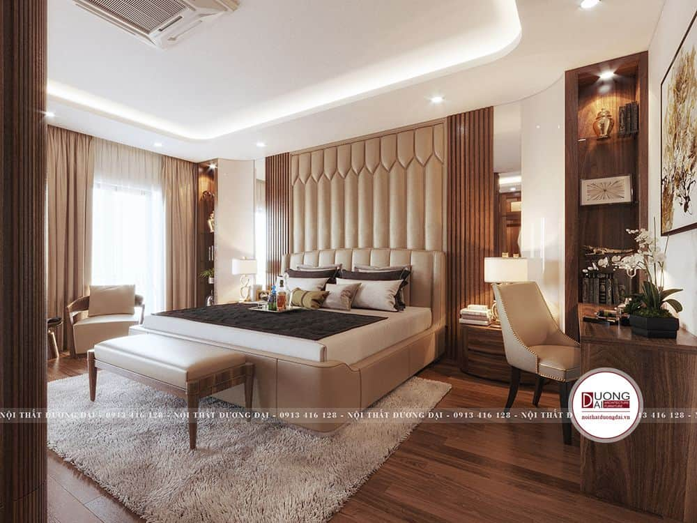 Thiết kế nội thất phòng ngủ ấm áp và có nội thất sang trọng