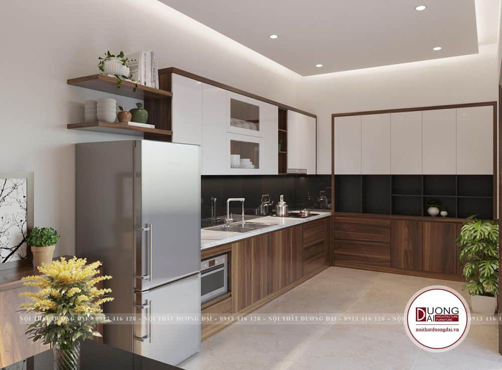 Không gian phòng bếp nấu công năng và sử dụng màu trầm