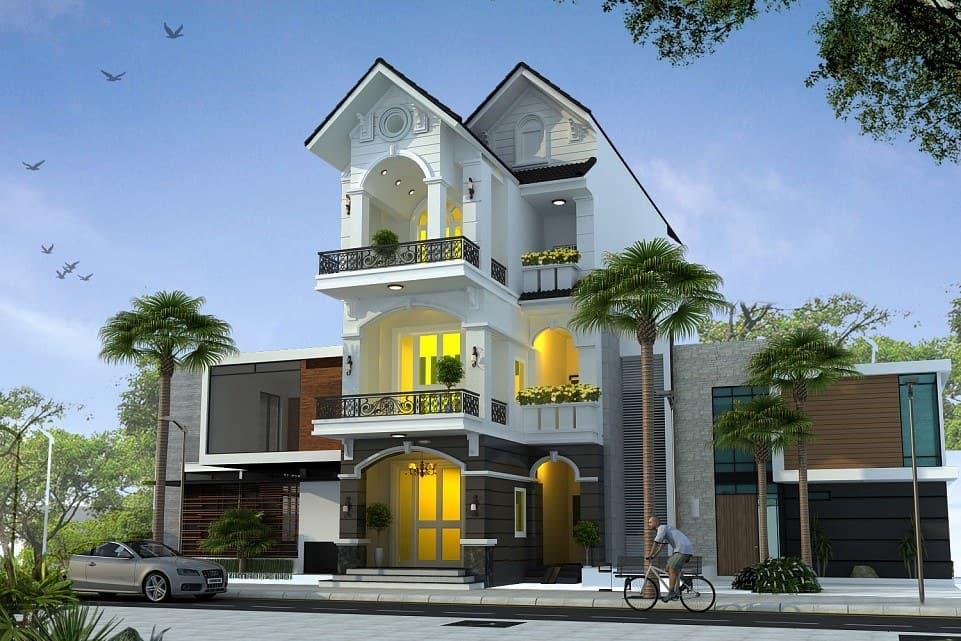Phong cách tân cổ điển vẫn rất được yêu thích khi thiết kế nhà óng 3 tầng