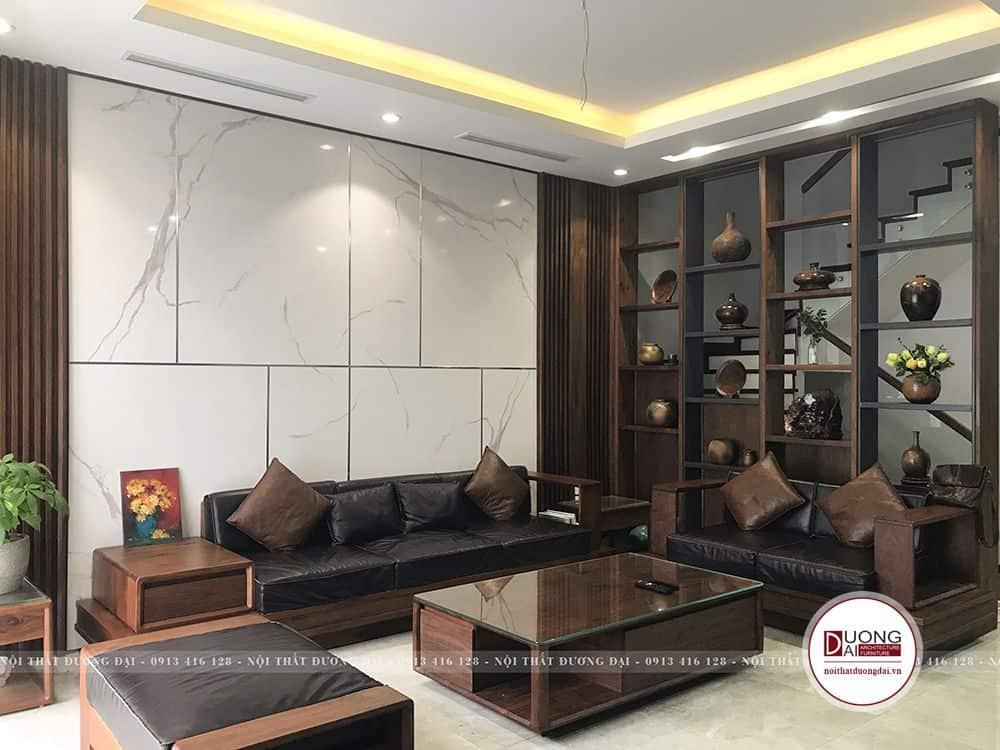 Thiết kế nội thất sang trọng bằng gỗ óc chó đẹp