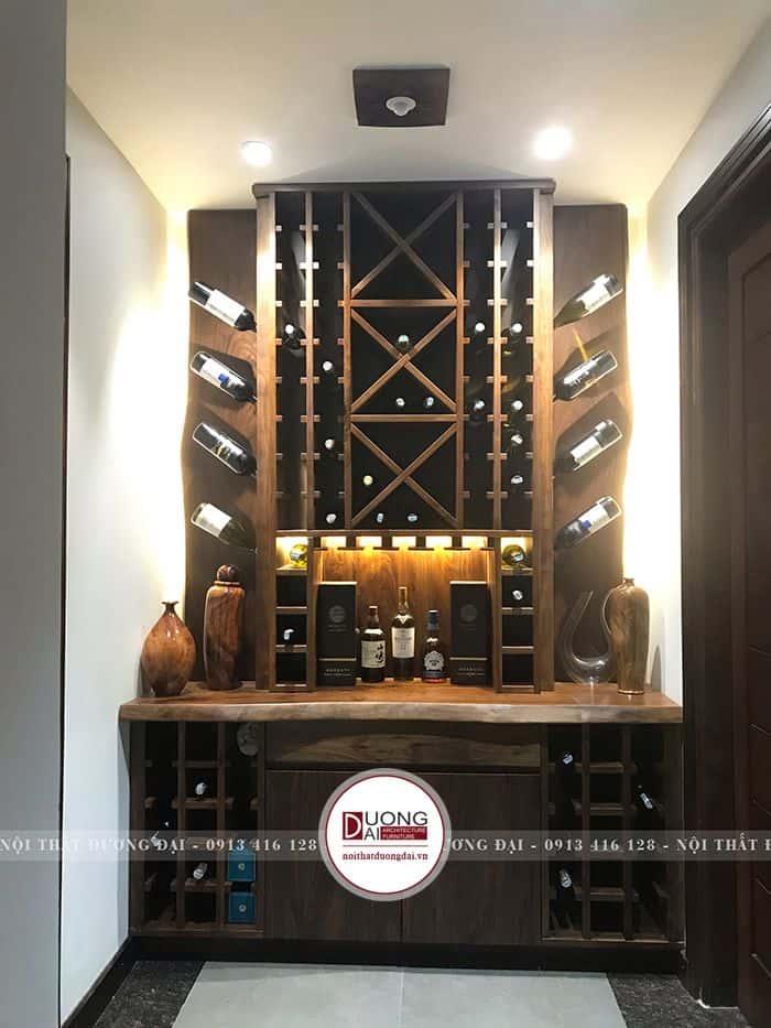 Tủ rượu nhiều ngăn làm từ gỗ óc chó