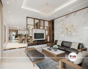 Thiết kế nội thất phòng khách cao cấp với bộ sofa gỗ óc chó