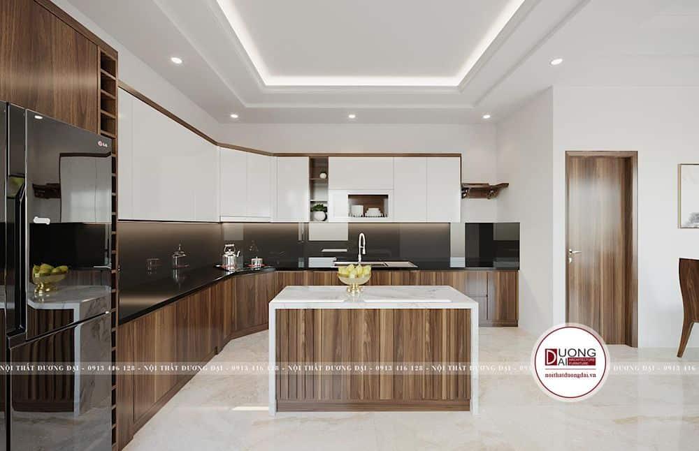 Tủ bếp chữ L làm từ gỗ Laminate chất lượng cao, độ bền tốt