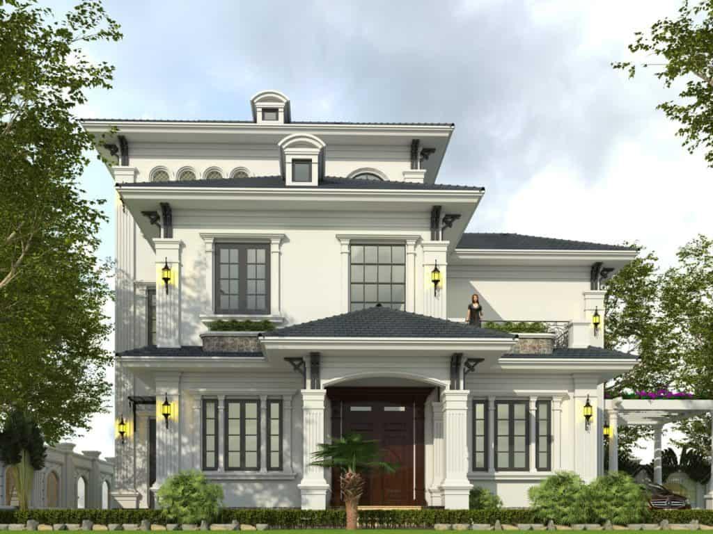 Thiết kế biệt thự 7x14m phong cách tân cổ điển với hệ mái thái đẹp mắt