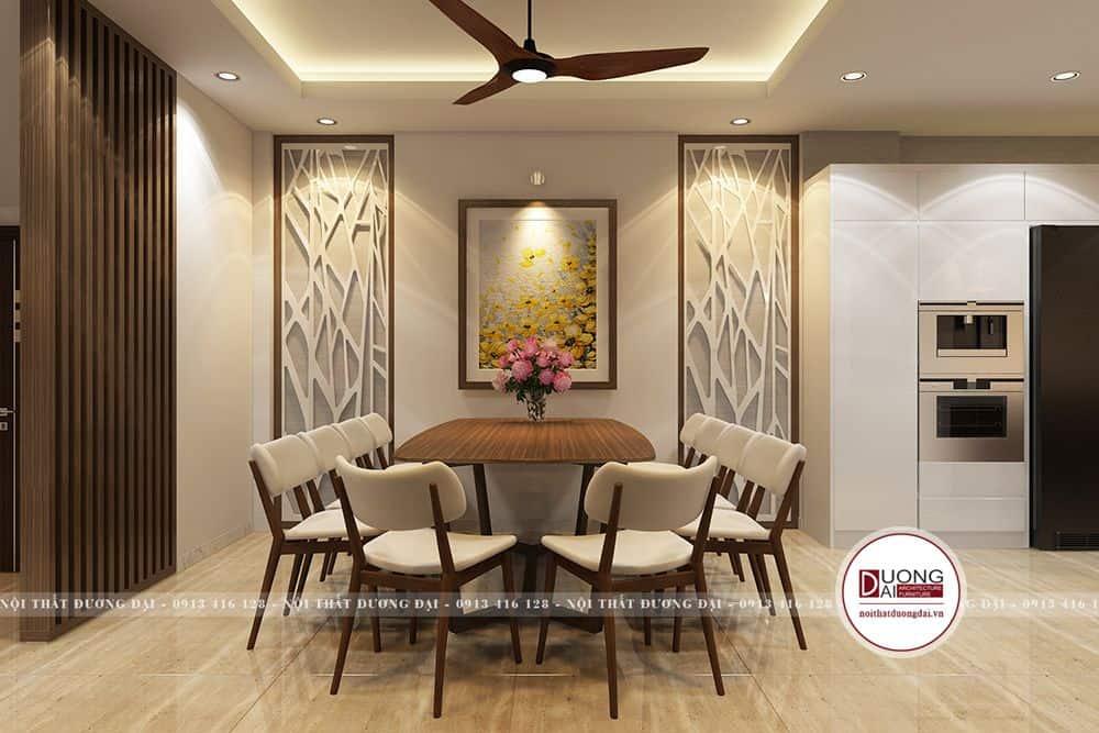 Không gian phòng bếp ăn với bàn tròn 8 chỗ ngồi phong thủy