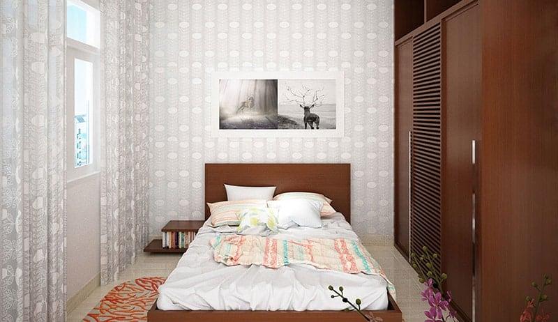 Thiết kế không gian phòng ngủ nhỏ nhắn ấm áp