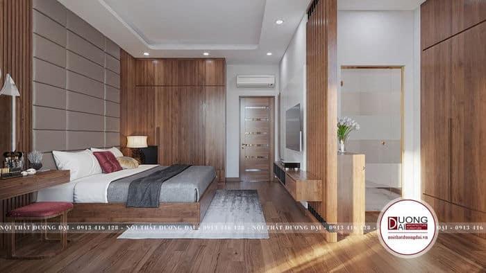 Mẫu phòng ngủ có toilet được thiết kế sau kệ tivi