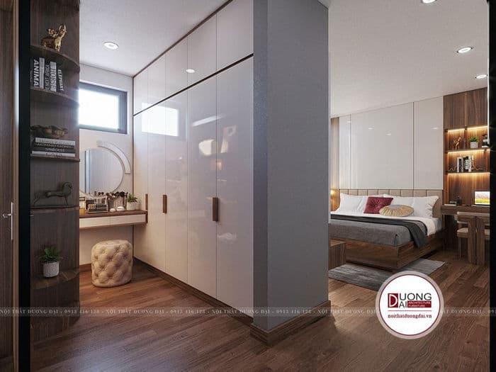 Tủ quần áo 5 cánh lớn dùng làm vách ngăn cho phòng ngủ chung cư