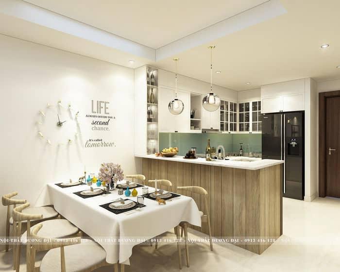 Thiết kế nội thất phòng khách bếp ăn ấn tượng