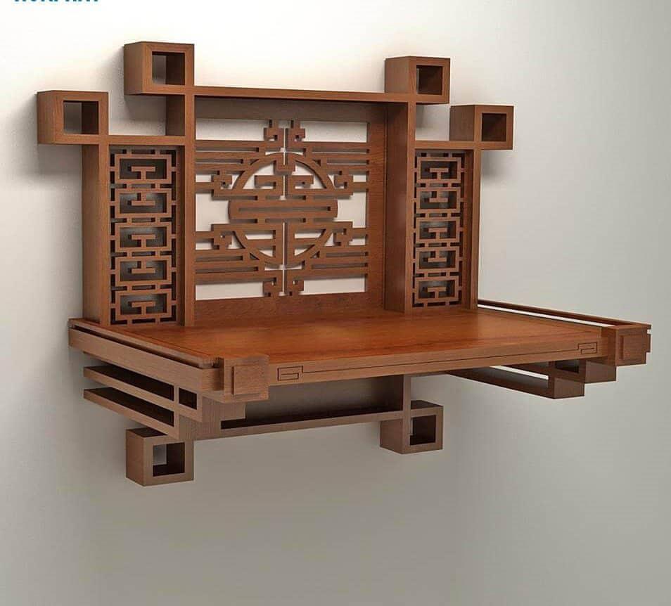 Mẫu bàn thờ có lát tường đẹp và ấn tượng