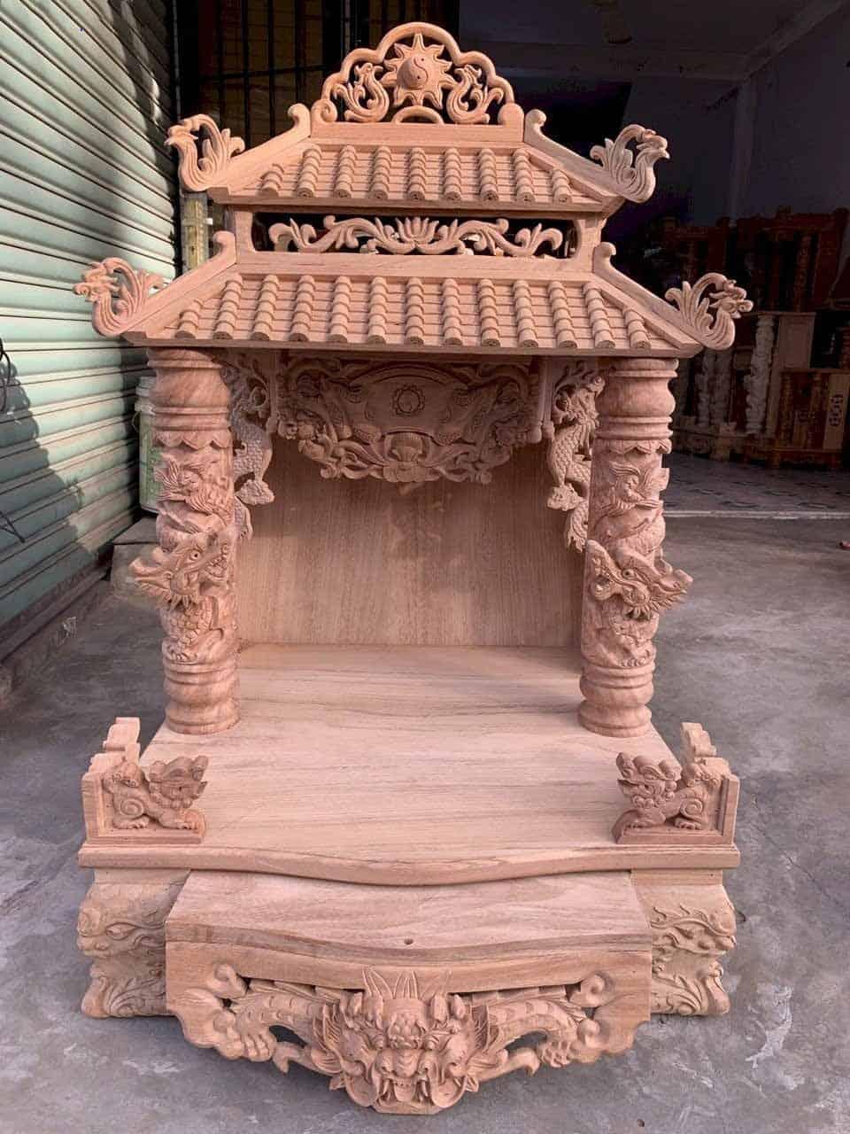 Mẫu bàn thờ Thần Tài 2 mái siêu đẹp
