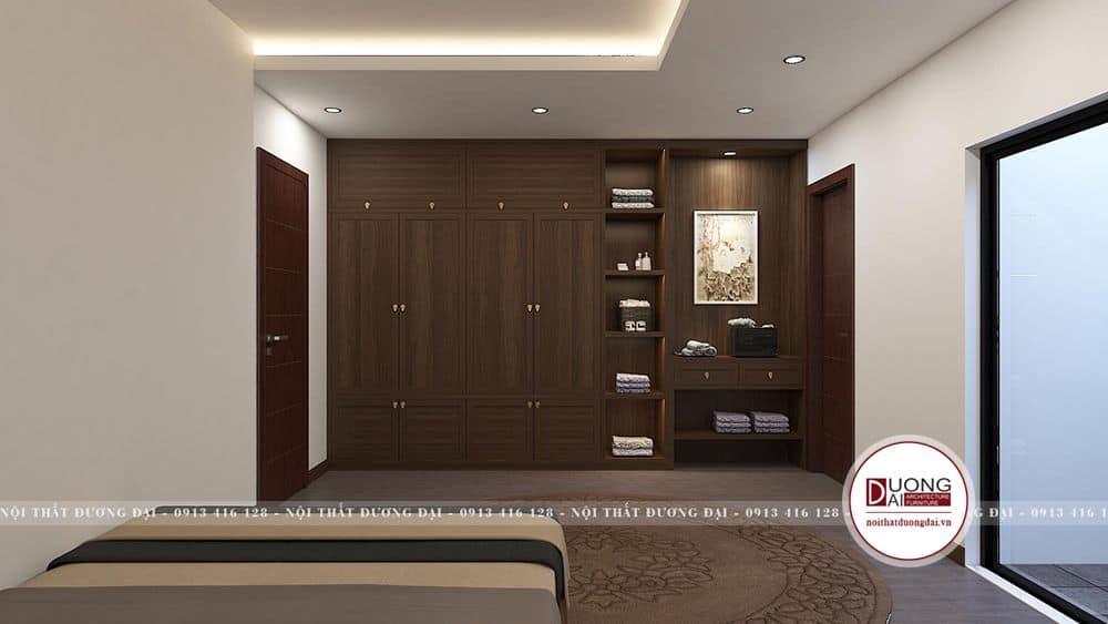 Thiết kế tủ đa năng bằng gỗ tự nhiên màu nâu trầm