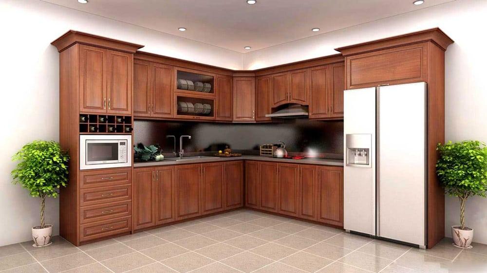 Thiết kế tủ bếp gỗ đơn giản mà vẫn rất trang nhã, sang trọng