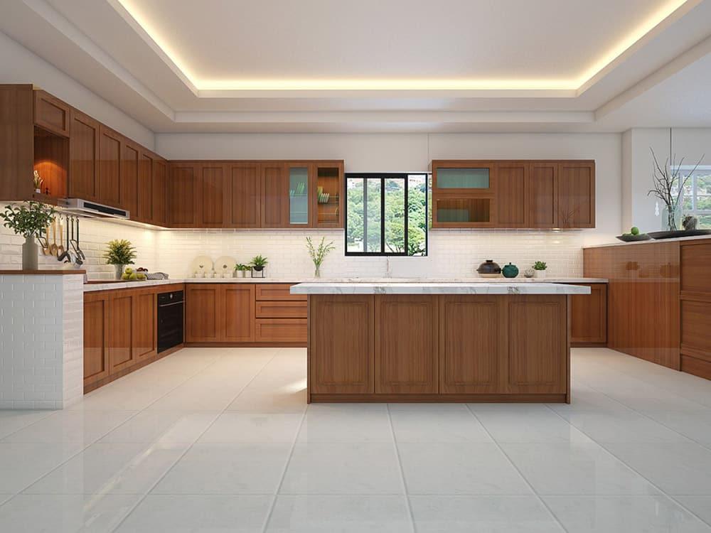 Mẫu tủ bếp gỗ Hổ bì sang trọng và đầy trang nhã