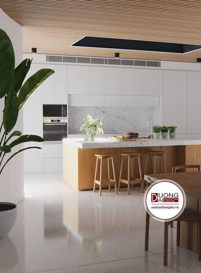 Khung gỗ sồi mang đến màu sắc hài hòa cho phòng bếp