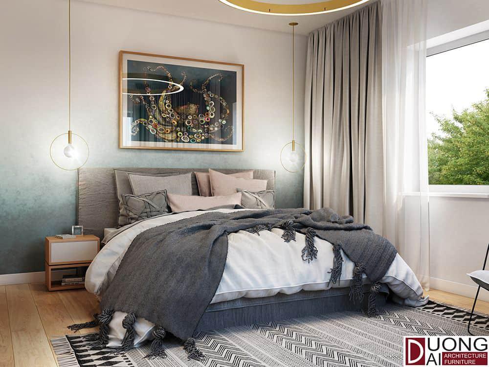 Phòng ngủ có kệ gỗ nhỏ xinh đầy tiện nghi