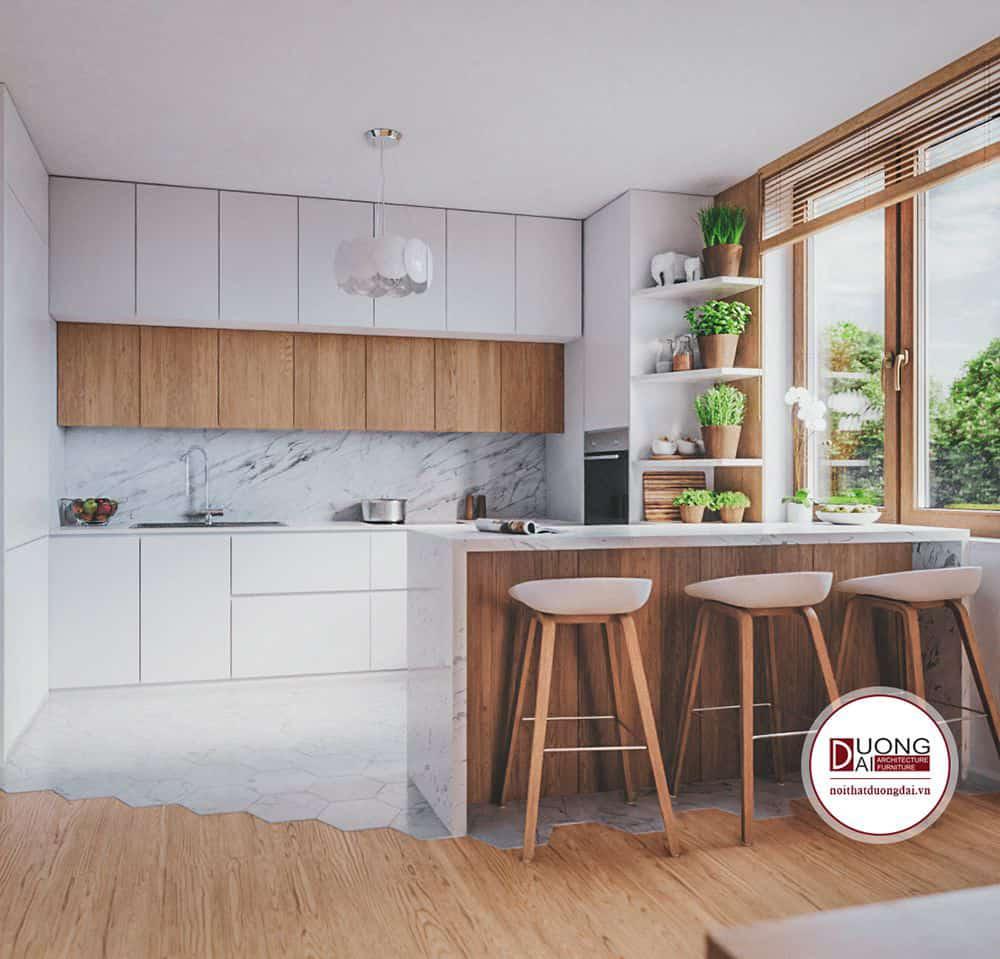 Thiết kế phòng bếp siêu ấn tượng sử dụng chất liệu gỗ