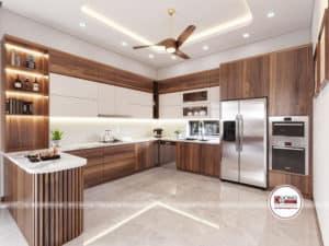 Thiết kế phòng bếp tiện nghi có đảo bếp và tủ rượu