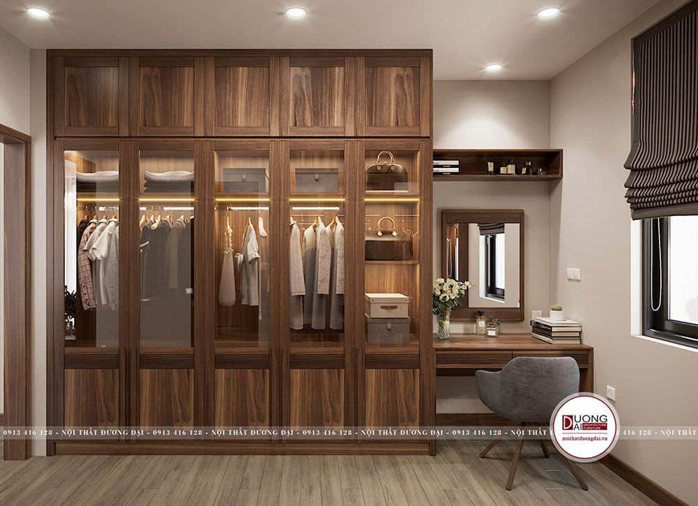 Tủ quần áo cánh kính lớn cao cấp làm từ gỗ óc chó