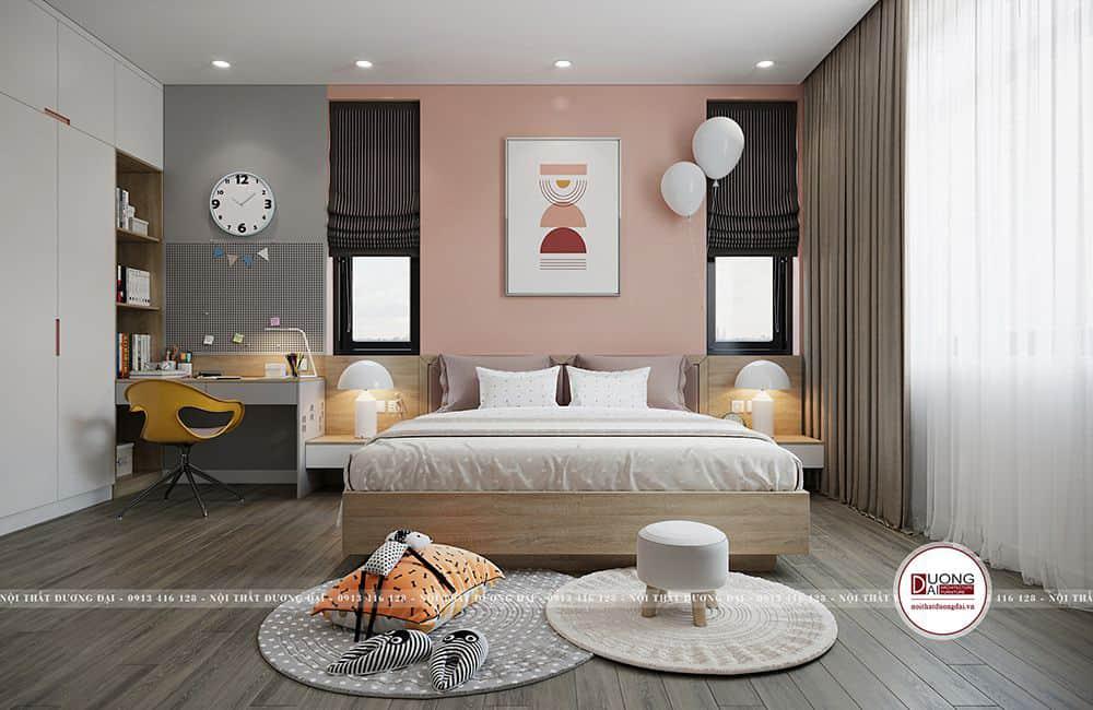 Màu hồng nhạt và ghi sáng mang nét ấm áp cho phòng ngủ