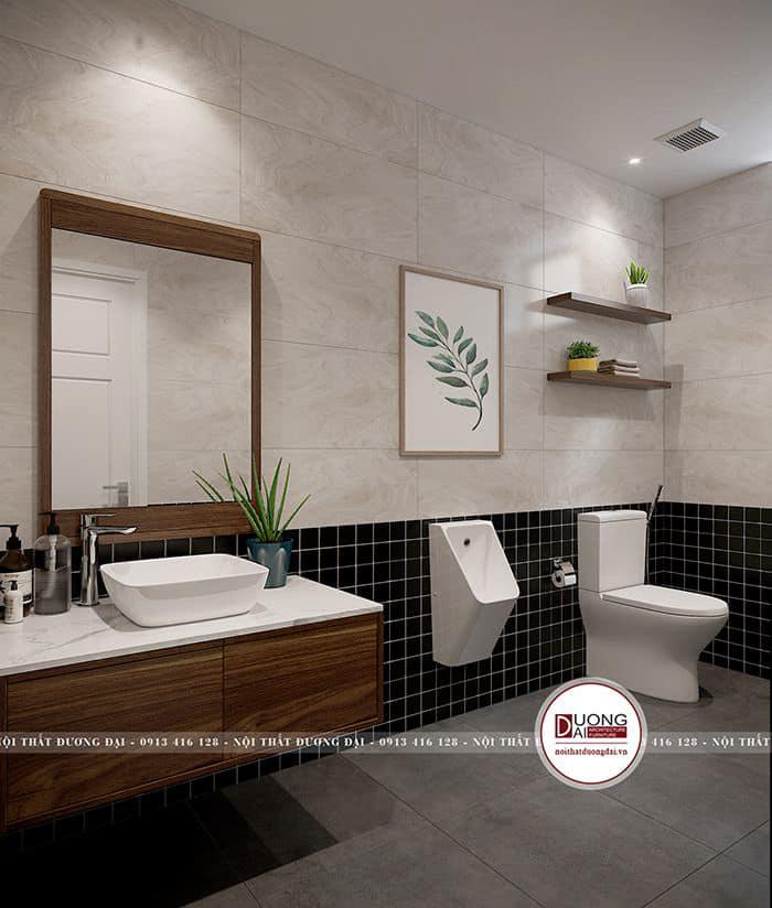 Nội thất sứ và gỗ cao cấp trong phòng tắm