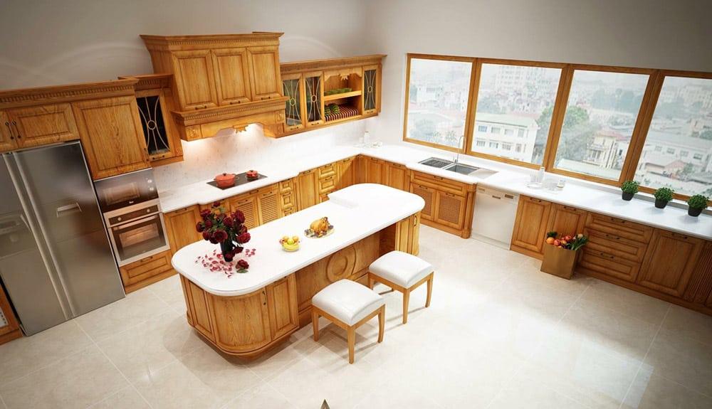 Mẫu thiết kế phòng bếp sang trọng từ gỗ tự nhiên