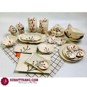 Bộ Đồ Ăn Men Mát Vẽ Hoa Bát Tràng - 60276