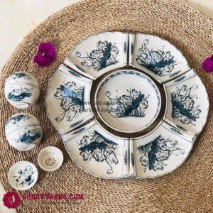 Set Đĩa Hoa Sen Vẽ Tay Bát Tràng - SBT60255