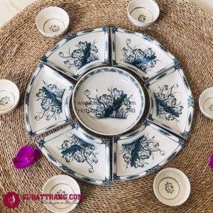 Set Đĩa Hoa Sen Vẽ Tay Bát Tràng - SBT60256