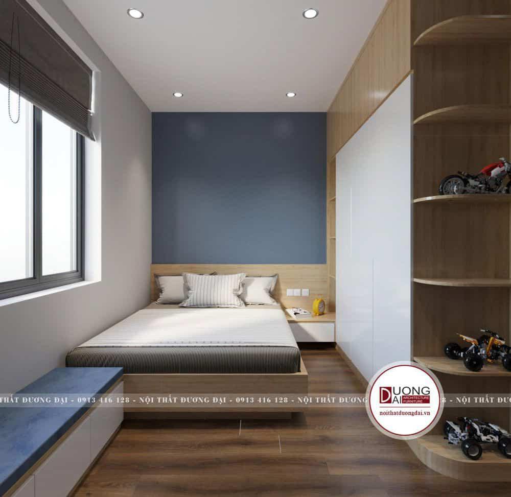 Phòng ngủ của bé trai với màu xanh dương tinh nghịch
