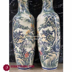 Lộc bình sơn thủy men màu Bát Tràng 1m6 - 70080