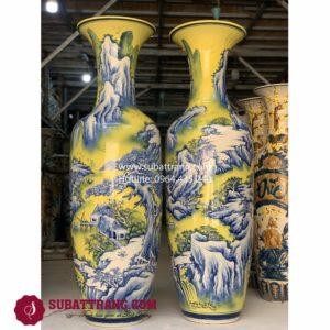 Lộc bình sơn thủy men vàng Bát Tràng - 70076