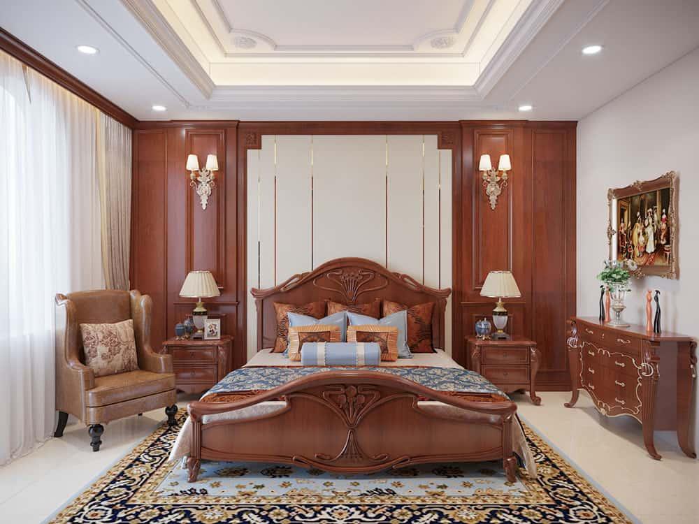 Giường ngủ tinh xảo cho phòng ngủ Master tân cổ