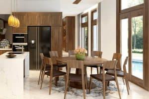 Thiết kế bàn tròn xoay đẹp mắt cho phòng bếp sang trọng