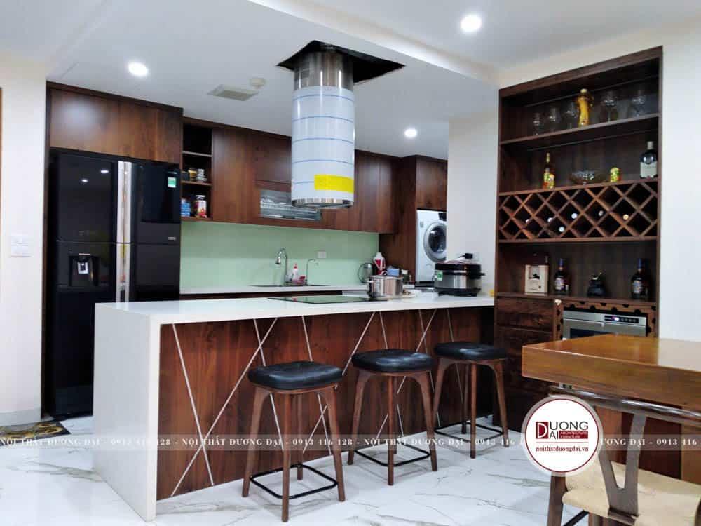 Thiết kế tủ bếp với kiểu dáng hiện đại và cá tính
