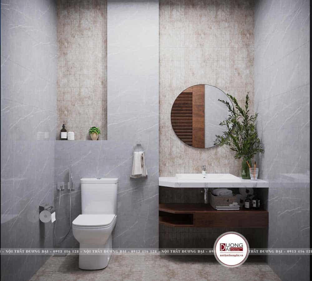 Phòng tắm được lát đá vân mây sang trọng