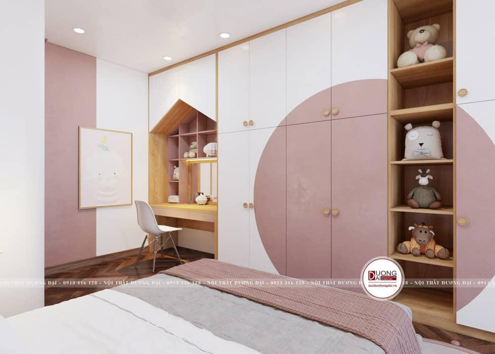 Thiết kế tủ quần áo gỗ MDF siêu dễ thương